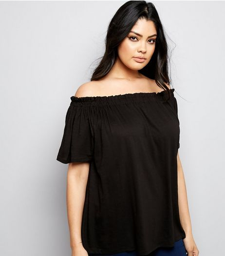 Curves Black Shirred Bardot Neck Top | New Look