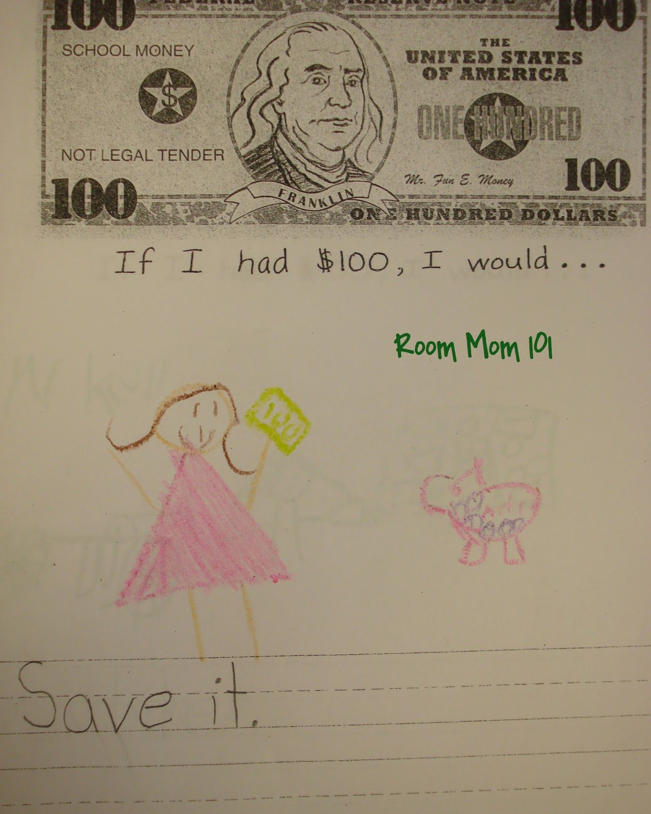 100th Day Of School If I Had One Hundred Dollars I Would