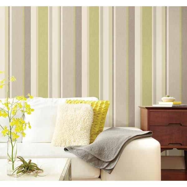 Raya green stripe wallpaper - A lovely green and white living room ...