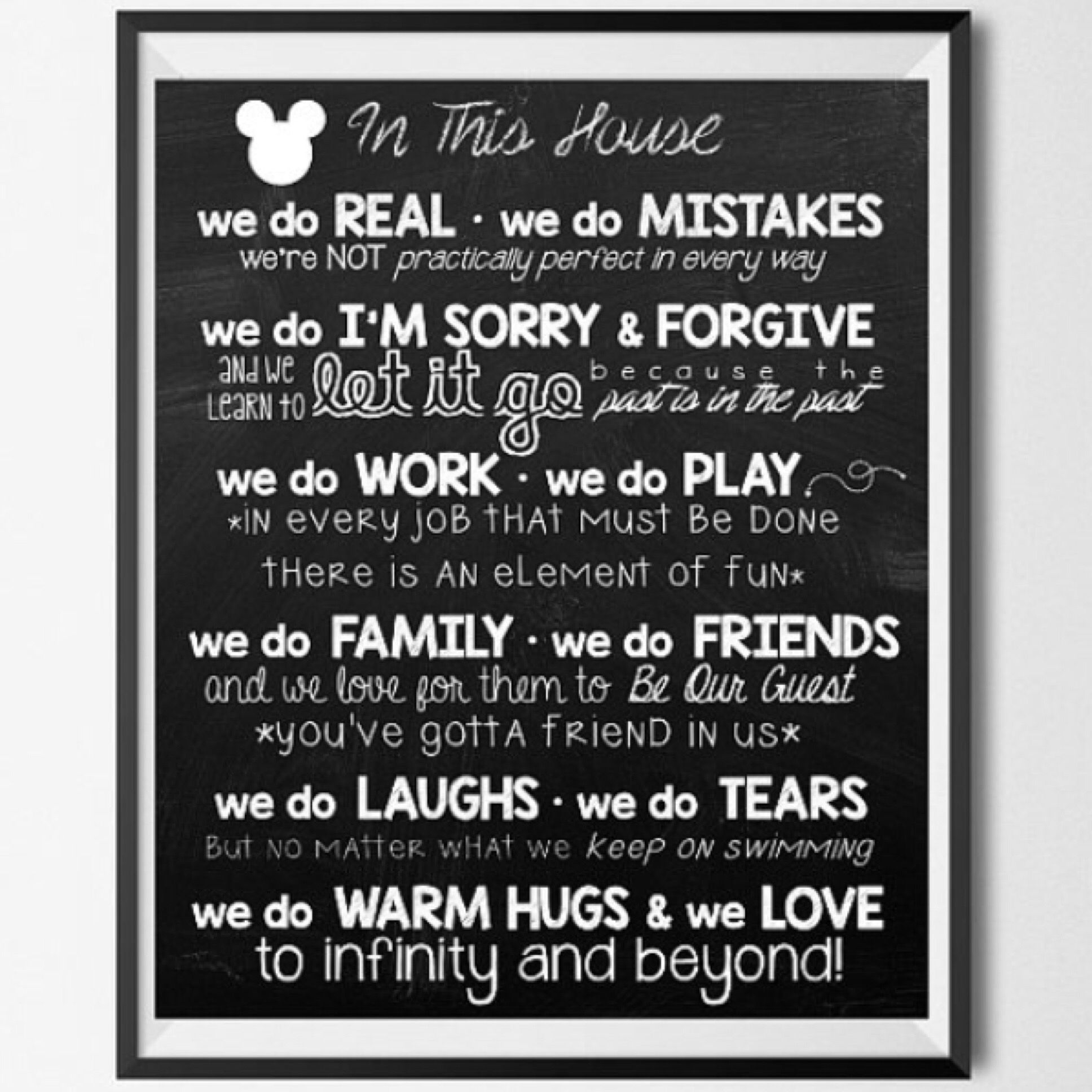 Adorable 8x10 Disney House Rules Printable Wall Art In This House We Chalkboard Wall Art Etsy Prints