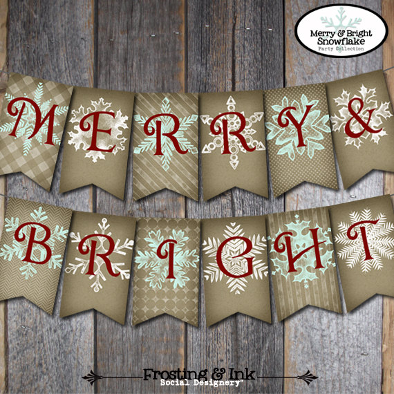 christmas banner holiday banner merry bright snowflake merry christmas banner printable 1000 via etsy