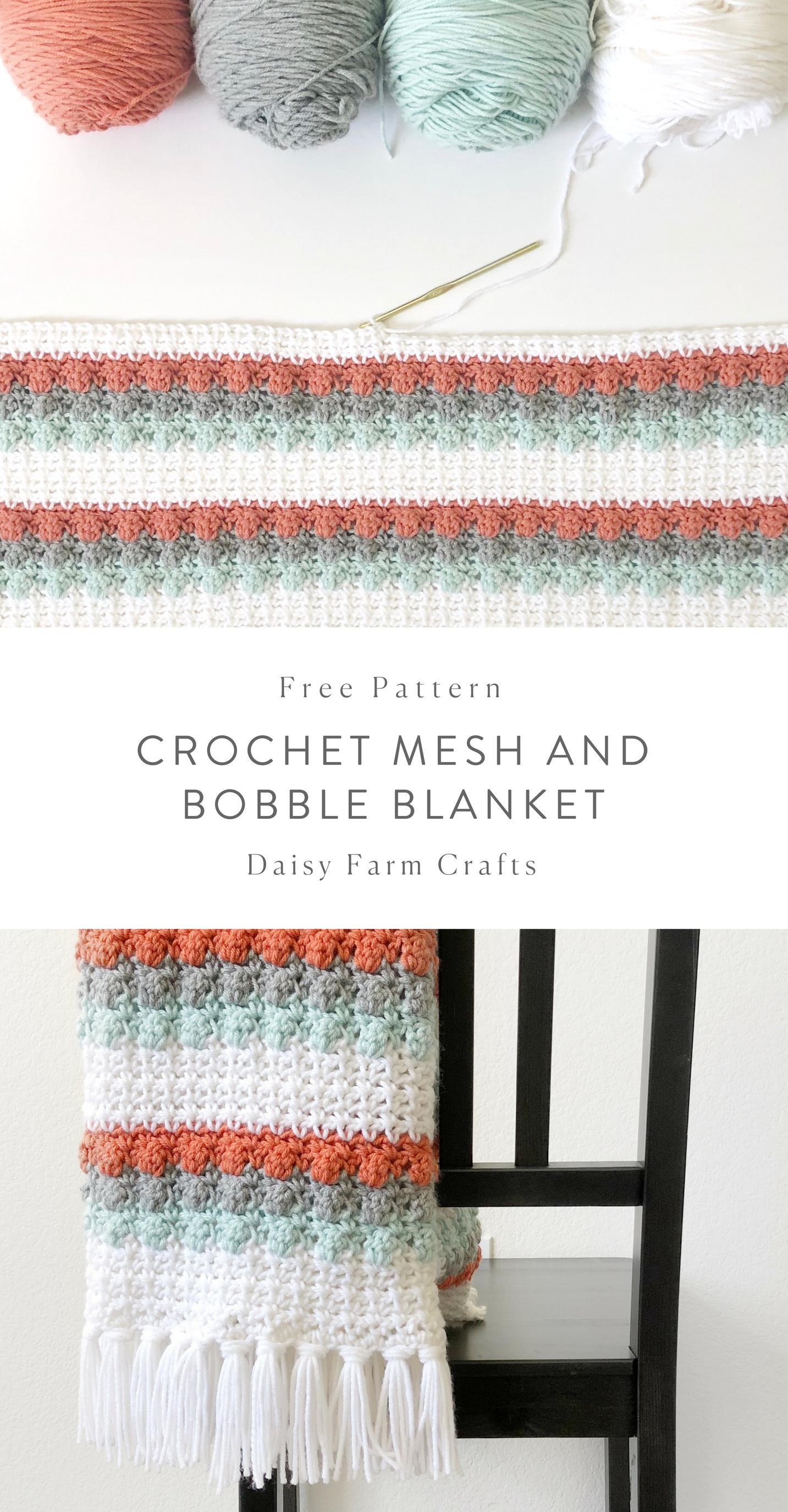 Free Pattern Crochet Mesh And Bobble Blanket Crochet Crochet