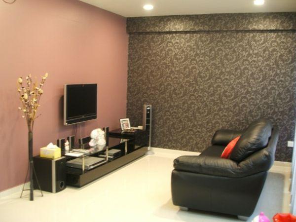 Strukturwand Wohnzimmer ~ Wohnzimmer farbgestaltung maleschablone an grauer wand