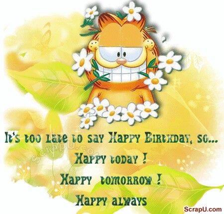 Garfield Animated Belated Birthday Wishes With Images Late