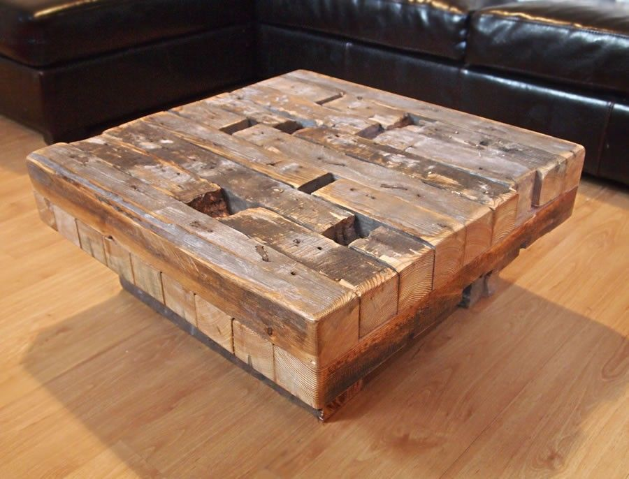 Coffee Table Made From Reclaimed Hand Hewn Lumber