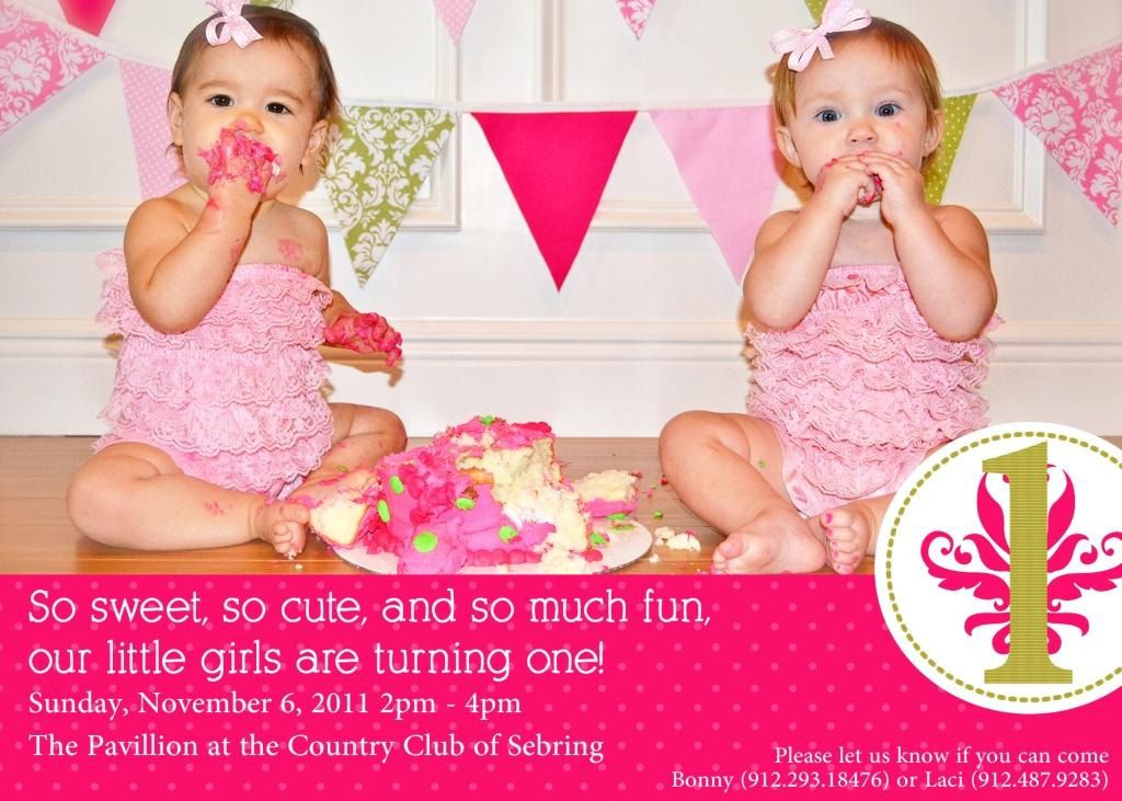 Twins 1st Birthday Invitation YOU PRINT 1100 via Etsy Party