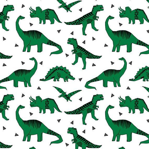 DINOSAURS ANIMALS JURASSIC DINOSAUR NAVY GRAY GREEN CREAM COTTON FABRIC BTHY