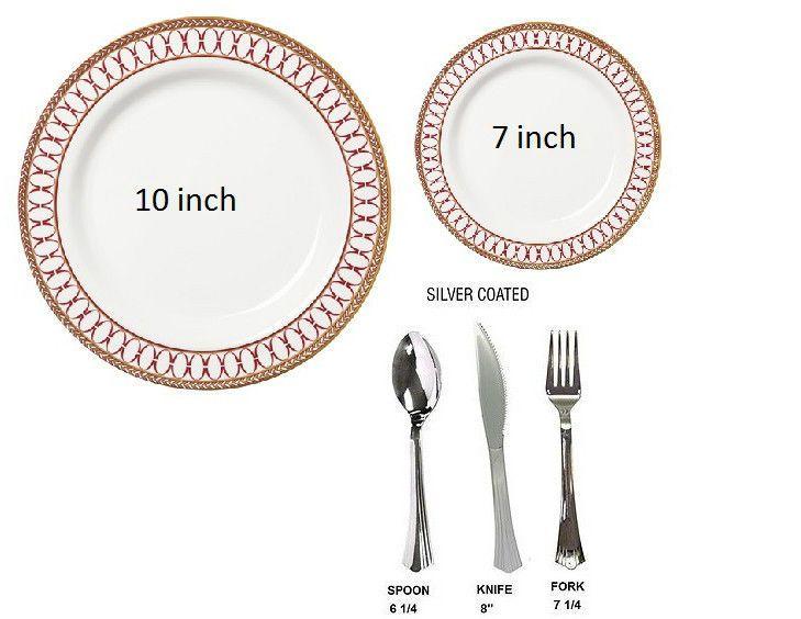 Bulk Renaissance Red Wedding Dinner Party Disposable Plastic