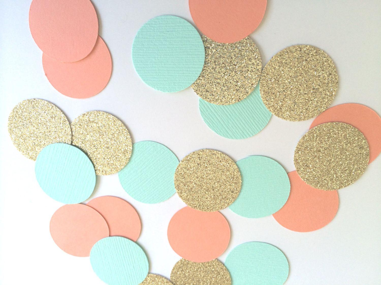 CORAL GOLD TURQUOISE Glitter Confetti. Circle Confetti for Weddings Table  Decor… 289e7003e035