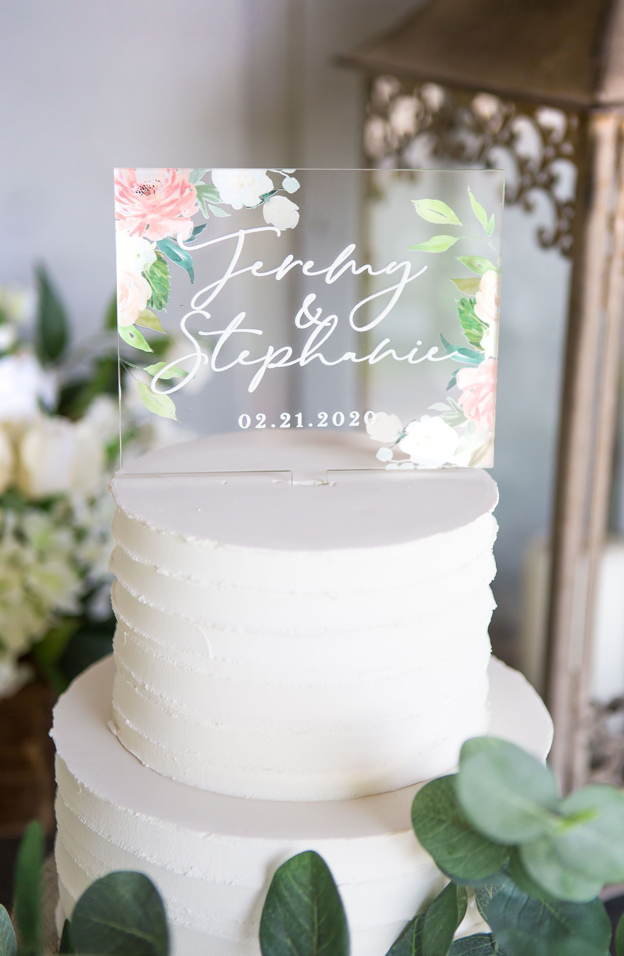 Wedding Cake Topper Clear Acrylic Floral Personalized Cake Etsy Wedding Cake Toppers Wedding Decorations Wedding Cakes