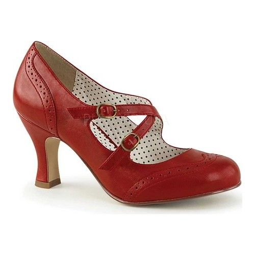 Womens Pin Up Couture Flapper 35 Mary Jane – Red Faux Leather