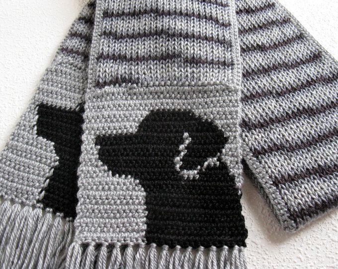 Black Labrador Scarf. Gray stripes, knit scarf with black Labs ...