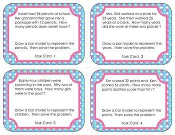 Create Bar Models Based On Real World Math Problems Task Cards Bar Model Math Task Cards Third Grade