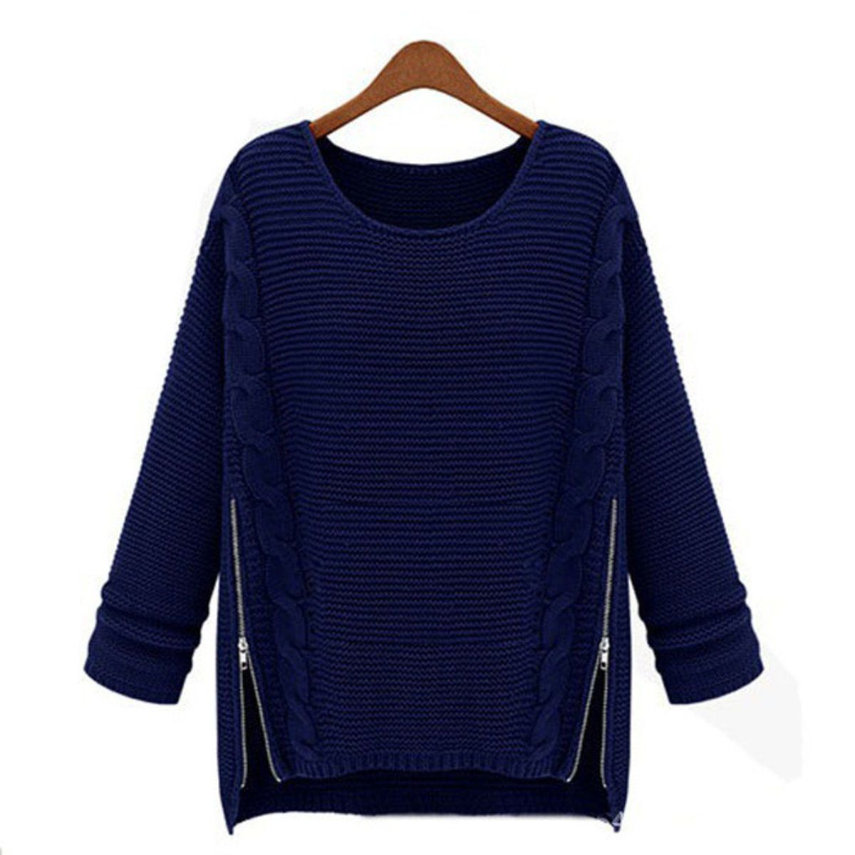 EKIMI Womens Knitted Loose O-Neck Sweater Zipper Knitwear Pullover ...