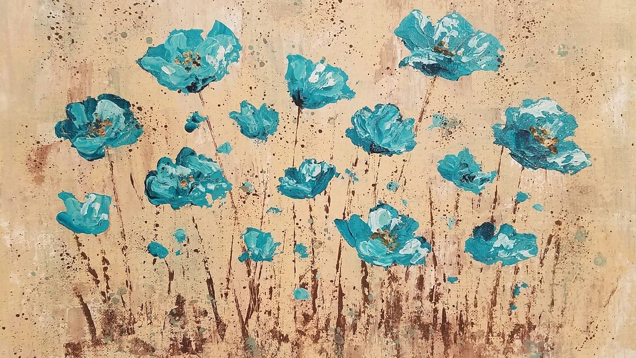 Easy impasto poppies palette knife techniques acrylic for How to paint with a palette knife with acrylics