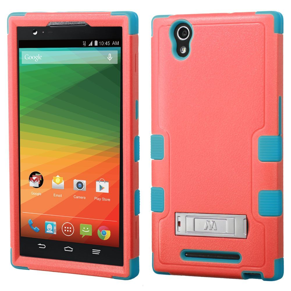 MYBAT TUFF Hybrid M-Stand Case for ZTE ZMax - Baby Red/Teal