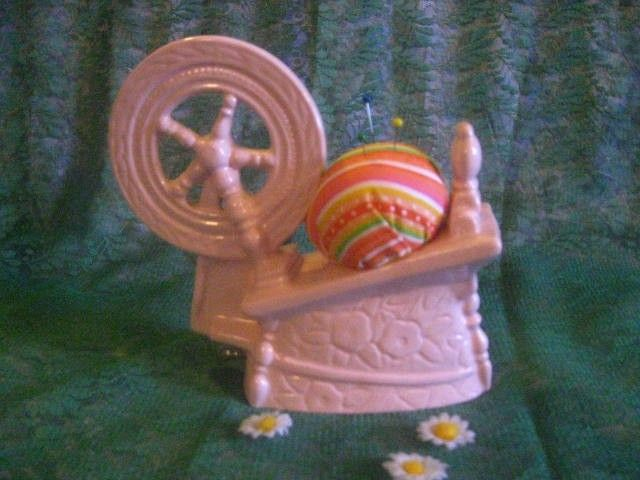 Sleeping Beauty Ceramic Pink Spinning Wheel Planter PIN CUSHION With Tape  OOAK. Via Etsy. Amazing Design
