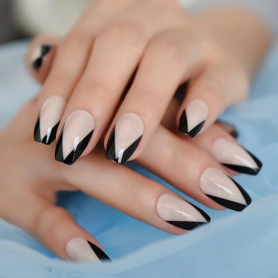 Salon Perfect Artificial Nails, Nude Black Ombre w/Bling