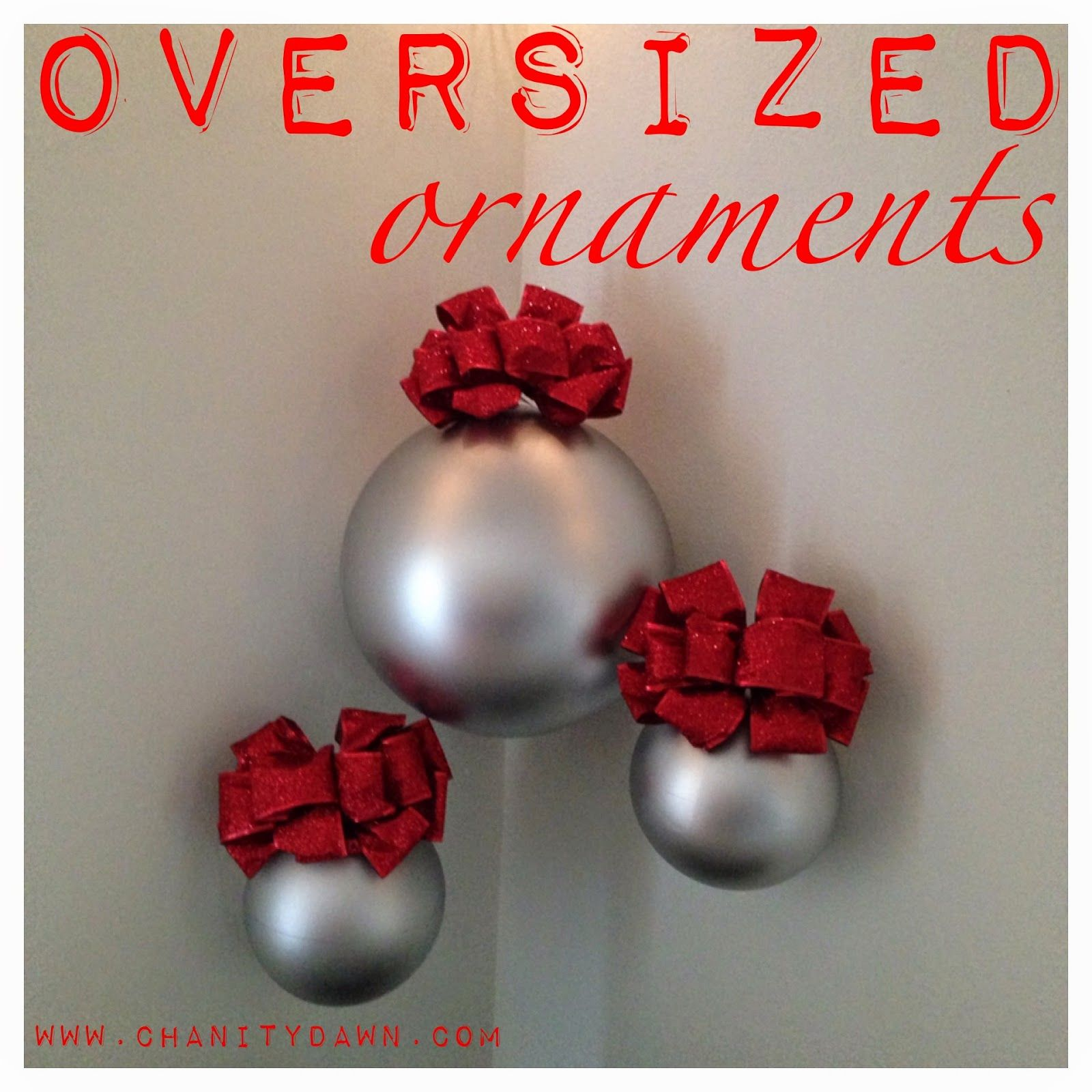 diy oversized christmas ornaments bouncy balls spray paint and bows