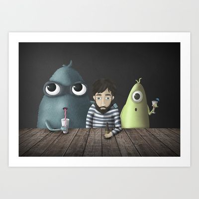 Seleccionada esta ilustración para estar en Society6 Shop :D Three rare guys Art Print by Ainaragm - $17.68