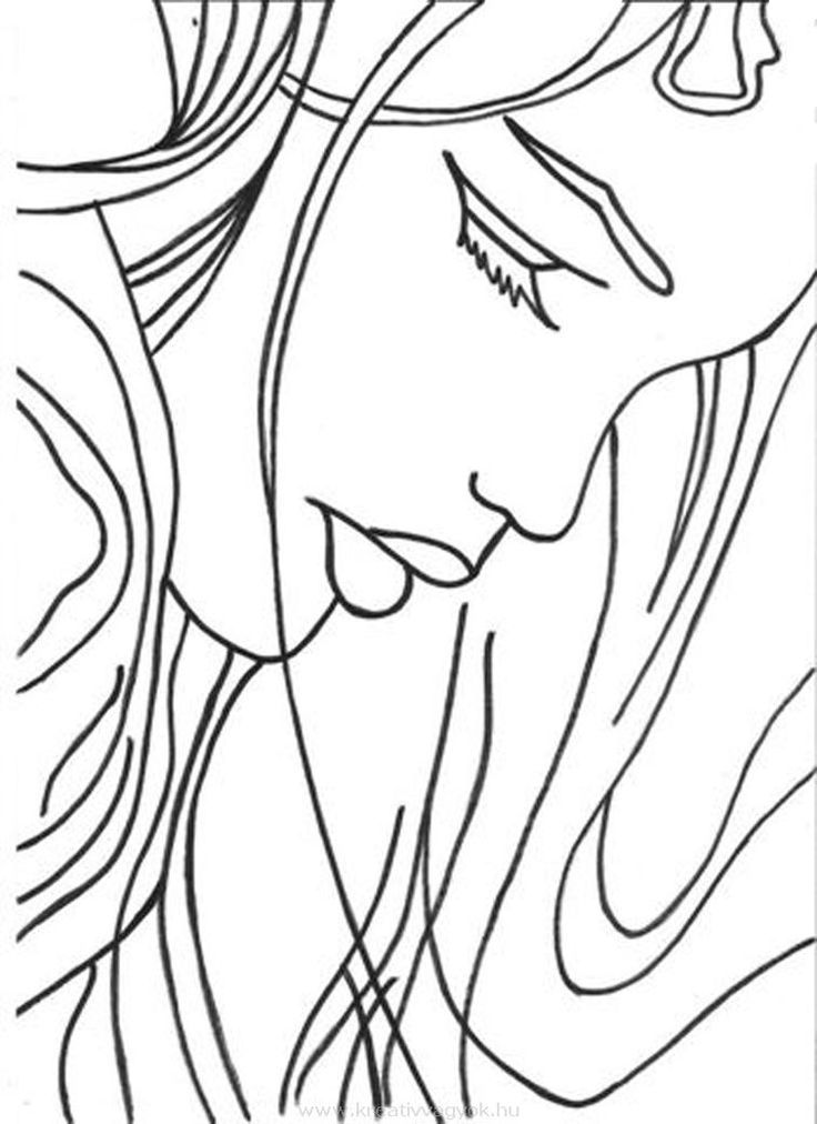 Simple sketch of a woman's face   Traceable Art for Journaling ...