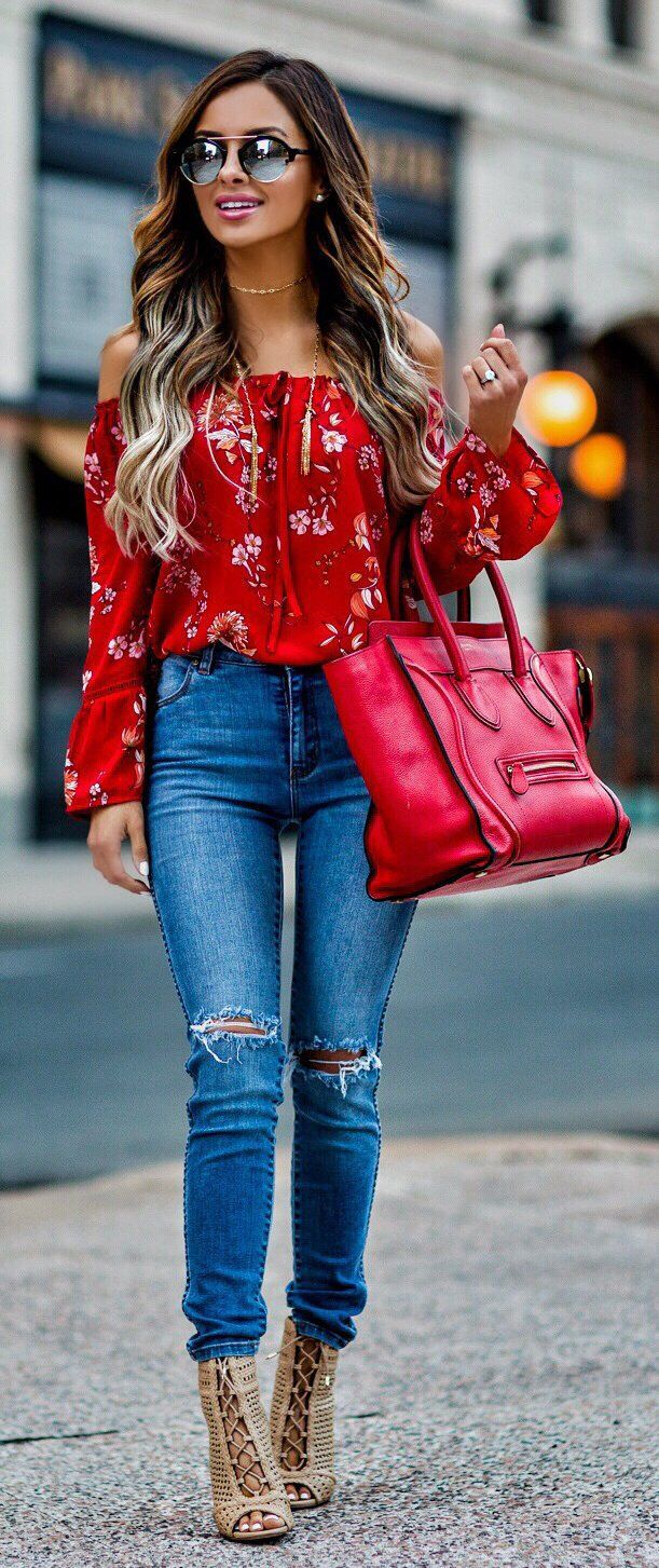 6a3951176ebf  spring  fashion Red Flower Printed Off The Shoulder Blouse   Ripped Skinny  Jeans   Red Leather Tote Bag