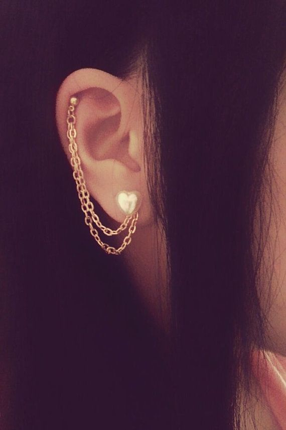 Pearl Heart Cartilage Chain Earrings Double Lobe Helix Ear Cuff ...