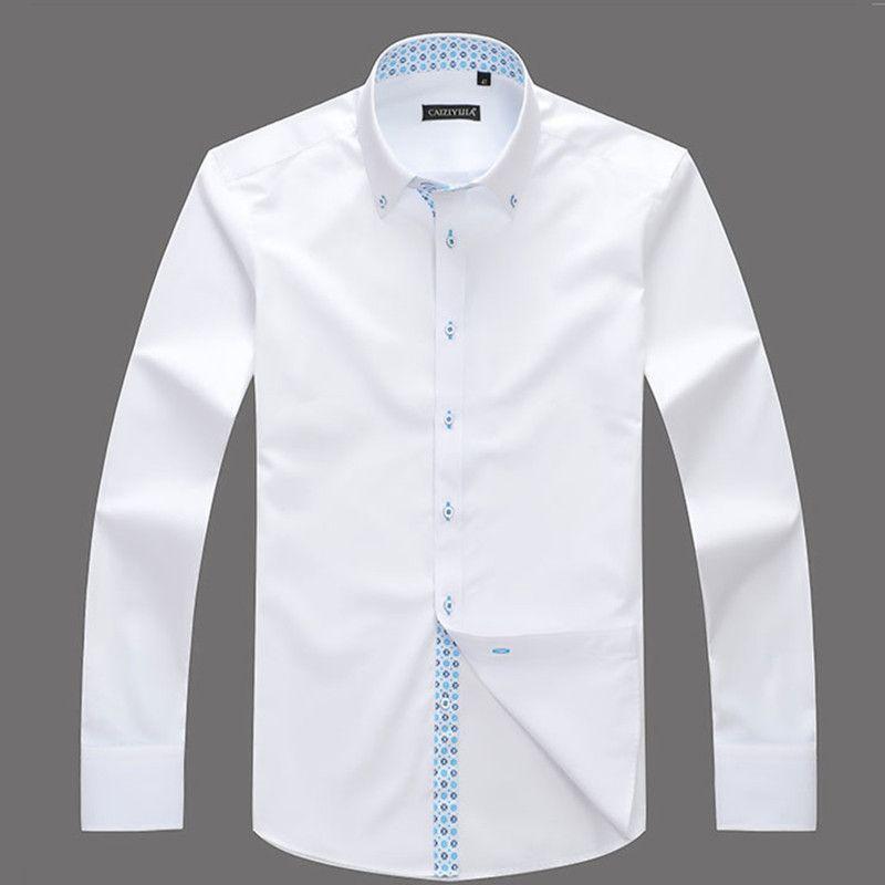 Brand Long Sleeve Men Shirt White Dress Shirt Male Boys Cotton ...