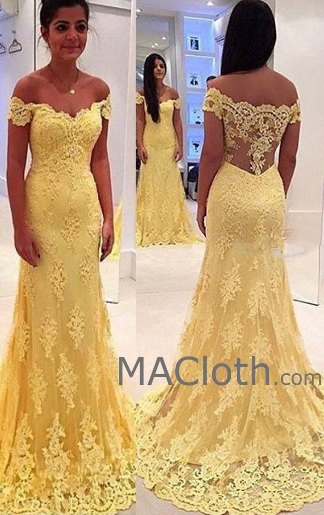 Off the Shoulder Mermaid Lace Yellow Prom Dress Evening Formal Gown ...