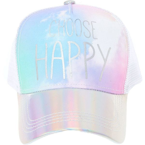 e589ab97d Choose Happy Metallic Trucker Hat | Claire's ($35) ❤ liked on ...