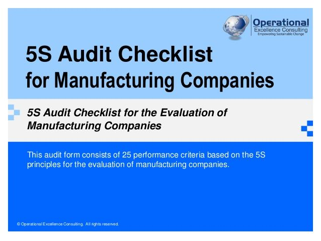 5s Audit Checklist For Manufacturing Companies By Operational