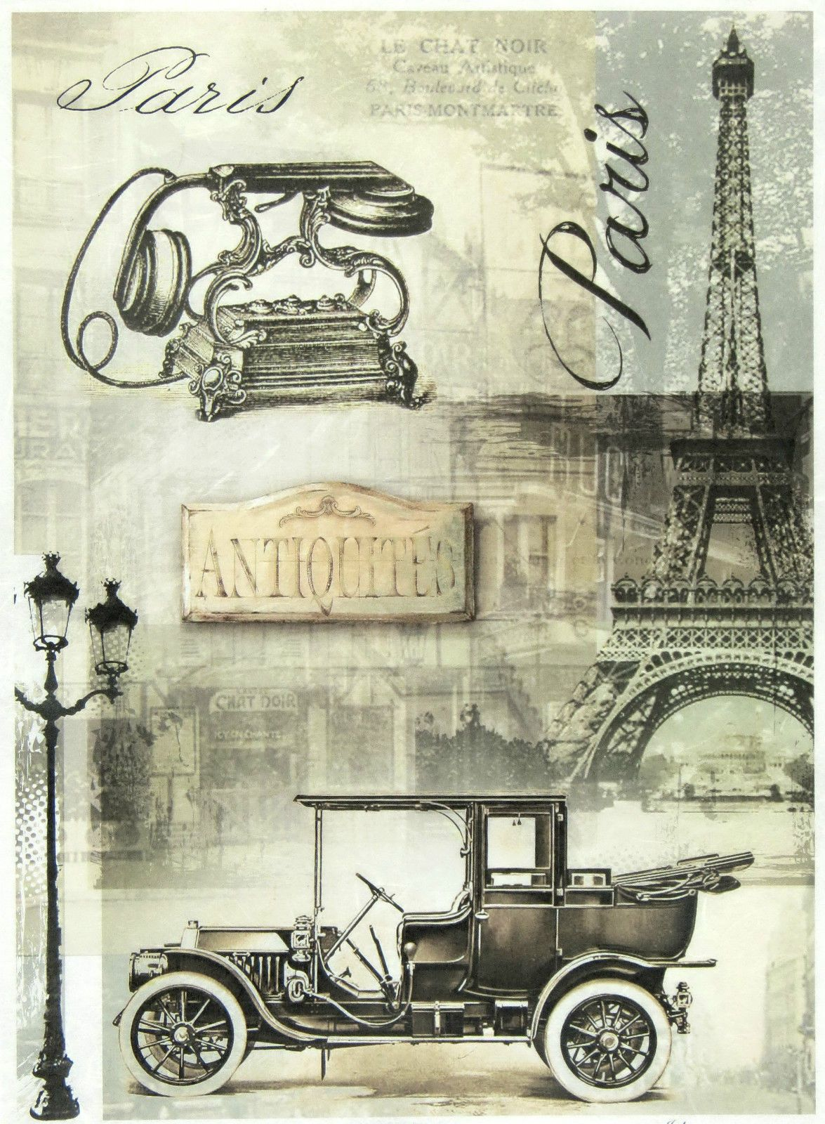 Rice Paper for Decoupage Scrapbooking Sheet Vintage Old Vehicles Postcards