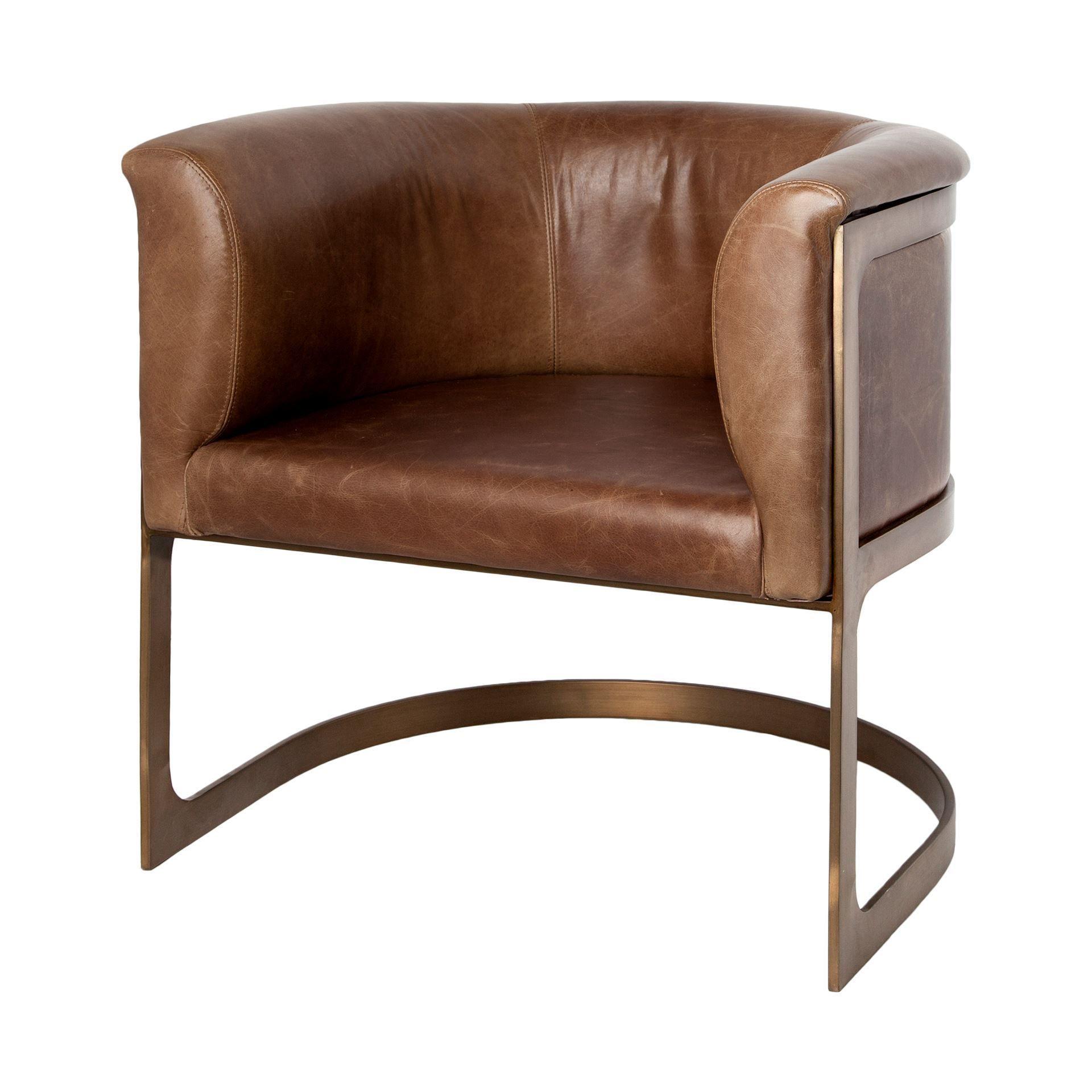 Best Modern Industrial Brown Leather Barrel Arm Chair Brass 400 x 300