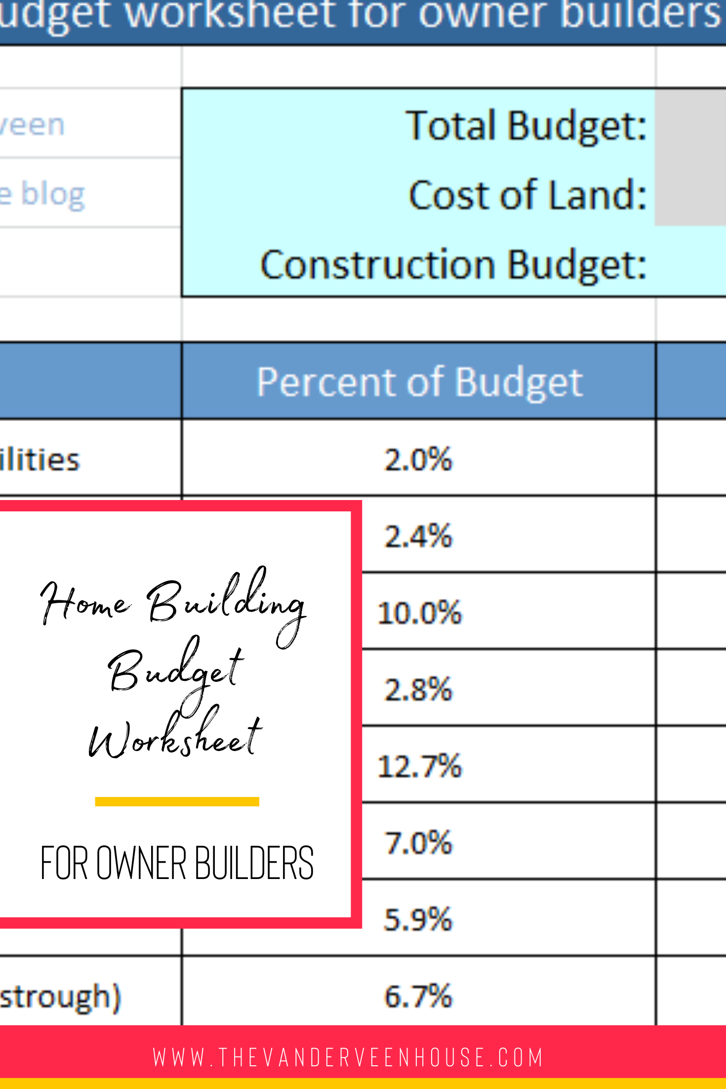 Construction Budget Worksheet How To Organize Your