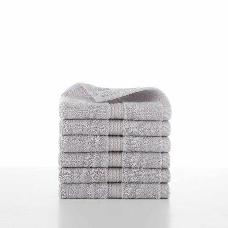 Hotel Luxury 6 Piece Glacier Gray Wash Cloth Set Size 13 Inchw X