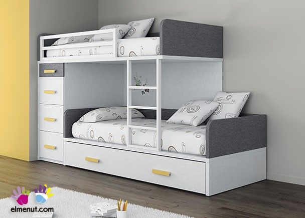 Dormitorio infantil con camas tipo tren mobiliario tonos - Camas tipo tren ...