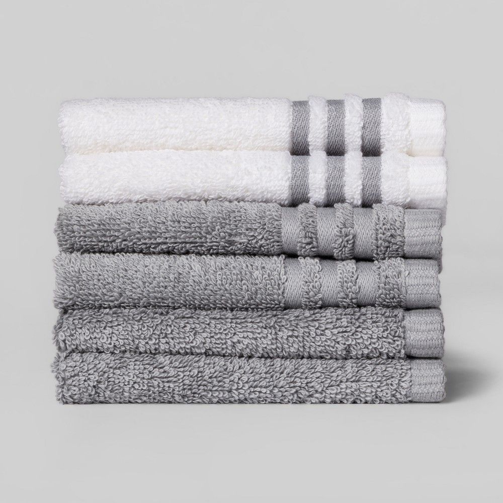 6pk Solid Washcloth Sets Gray Mist Room Essentials Gray White