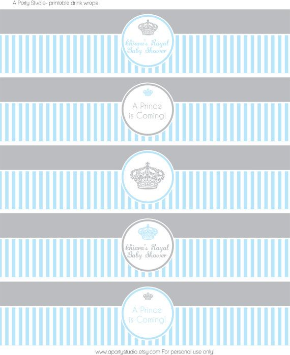 Printable Little Prince Baby Shower In Blue And Grey Water Bottle