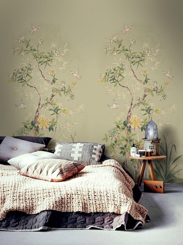 Vintage chinoiserie wallpaper / birds wallpaper / easy
