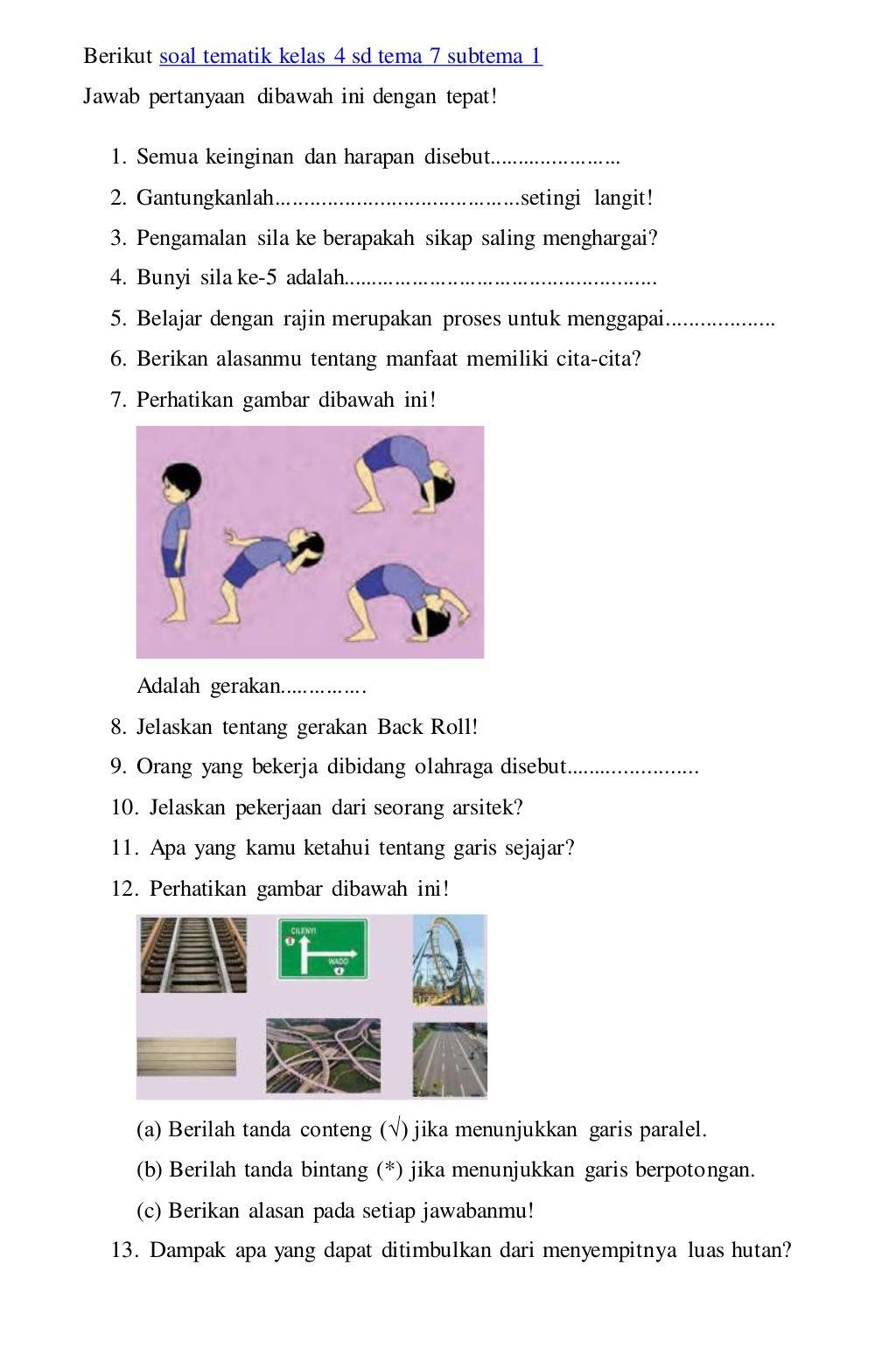 Soal Tematik 7 Kelas 4 Sd Dan Kunci Jawaban
