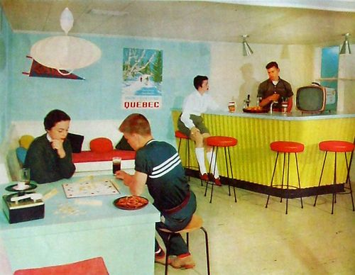 https://flic.kr/p/7MRGbp | Bar | From The American Home Magazine, 1958.  Love the bar! The slanted corrugated siding its awesome! It can easily be made today I think!