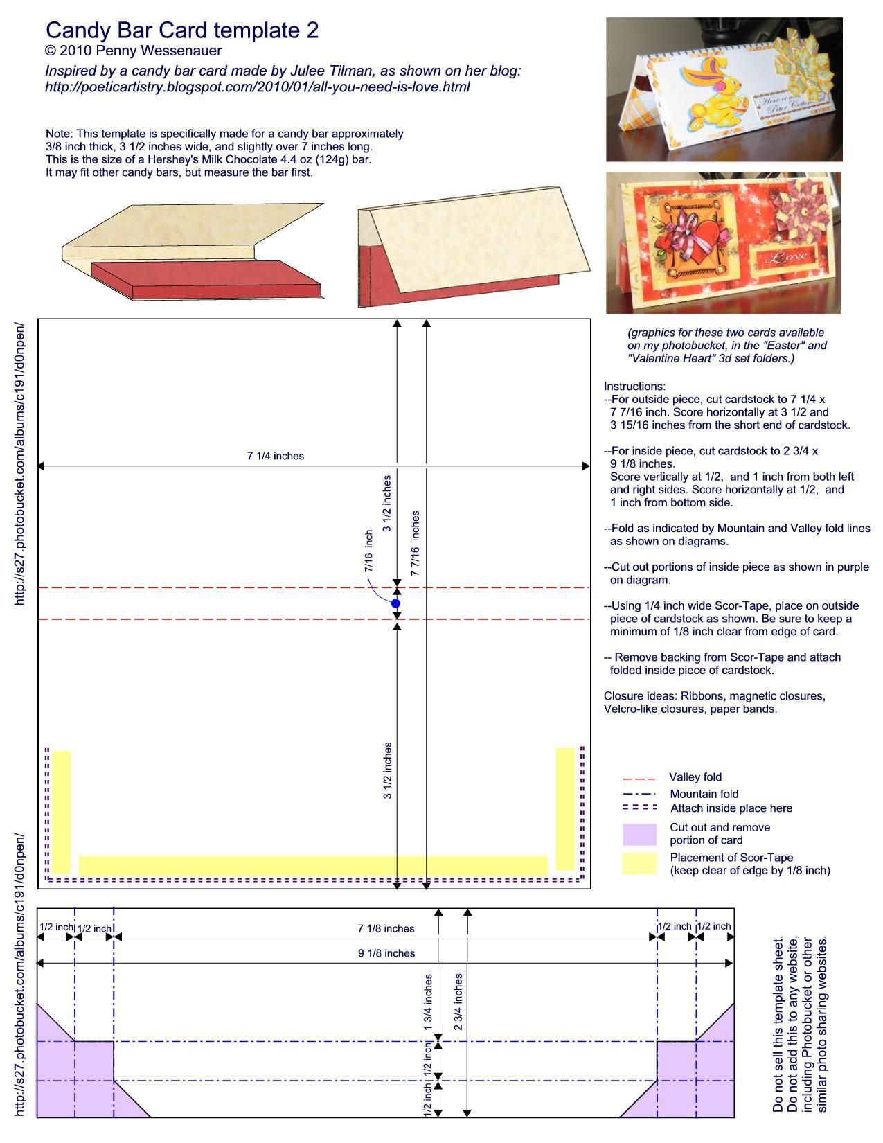template for a candy bar card fits a hershey bar plus many