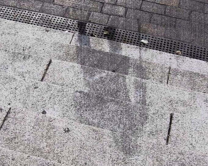 The Shadow Of A Hiroshima Victim Etched Into Stone Steps Is