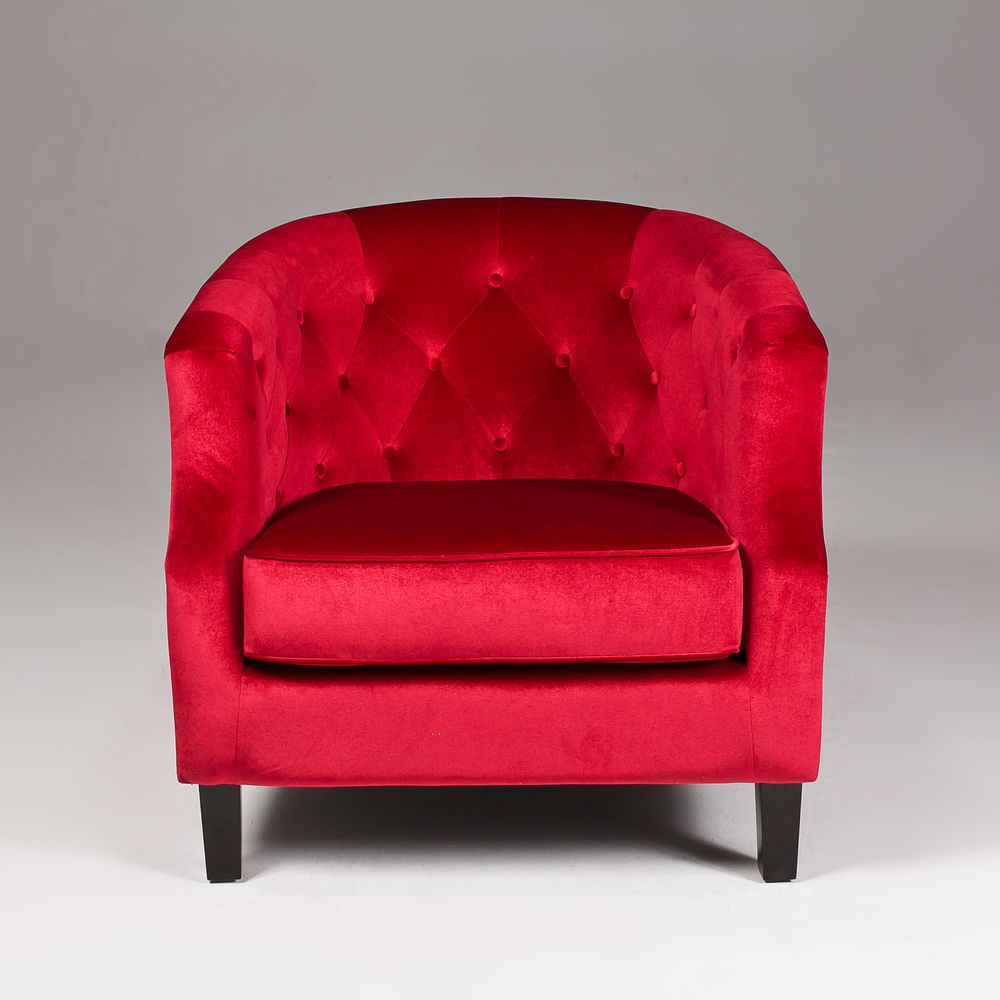 Seriena Modern Tufted Red Velvet Sofa Accent Chair Club Lounge