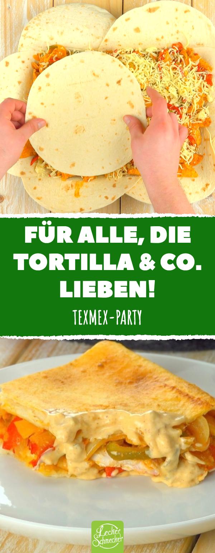 Fajita-Auflauf mit Paprika, Hähnchenbrust und Tortillas.