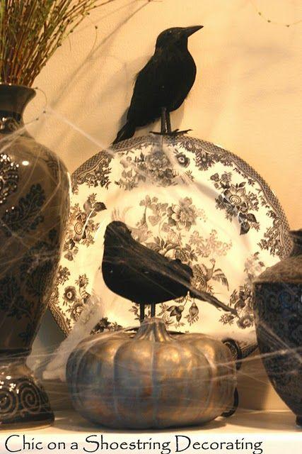 Dollar Store Black Birds for my Halloween Mantel My Fall - my halloween decorations