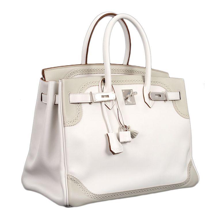 0ddf21c9e238 LIMITED EDITION HERMES BIRKIN BAG 35cm GHILLIES WHITE   GRIS