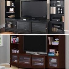 Home Entertainment Center Tv Stand W 2 Side Bookcases Towers Media