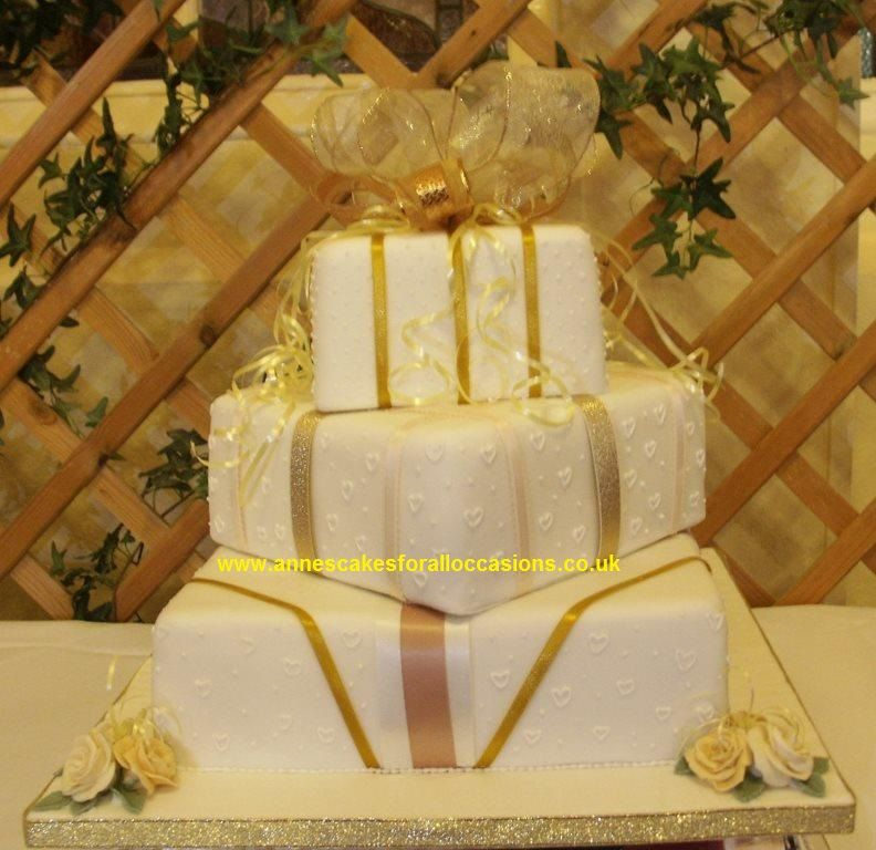 3 Tier Square Stacked Wedding Cake, satin ribbon side designs and ...