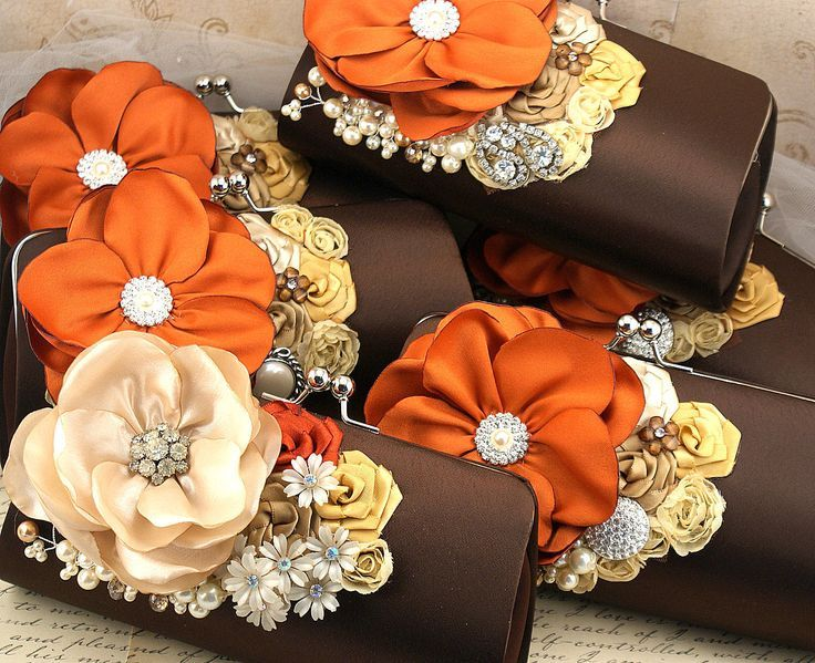 Bridesmaids Clutches Bridal In Burnt Orange Champagne Brown And Gold Set Of 5 Your Colors Scheme
